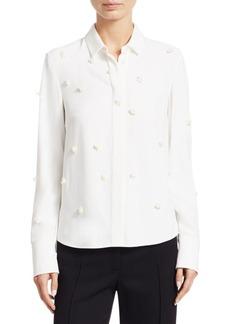 Akris Punto 3D Sequin Button-Up Blouse