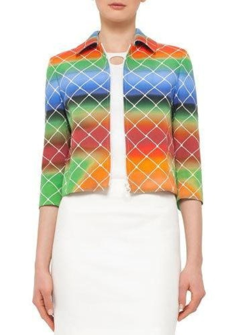 Akris punto 3/4-Sleeve Cropped Baseball Net-Print Jacket