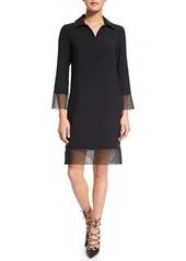 Akris punto 3/4-Sleeve Sheath Dress W/Mesh Trim