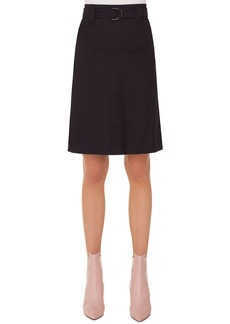 Akris punto A-Line Belted Knee-Length Cotton Skirt