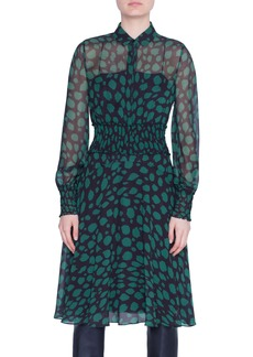 Akris punto Animal Dot Print Long Sleeve Dress