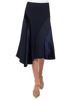 Akris punto Asymmetric Velvet Midi Skirt