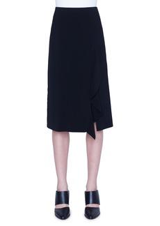 Akris punto Asymmetrical Ruffle Crepe Midi Skirt