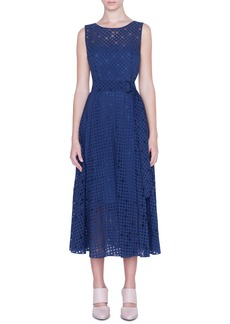 Akris punto Belted Dot Organza Midi Dress