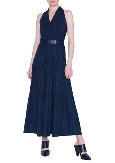 Akris punto Belted Tiered-Poplin Maxi Dress