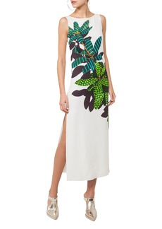 Akris Punto Boat-Neck Sleeveless Maxi Dress with Tropical Leaves Print