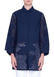 Akris punto Broderie Anglaise Cotton Tunic Shirt