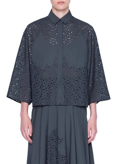 Akris punto Broderie Anglaise Crop Cotton Shirt