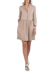 Akris Punto Button-Front Flared-Skirt Short Cotton Shirtdress