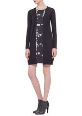 Akris punto Button-Print Inset Cardigan Dress