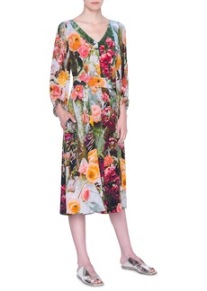 Akris punto Cactus Blossom Print Silk Crepe Midi Dress