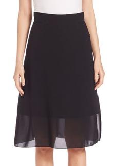 Akris punto Chiffon-Overlay Wool Skirt