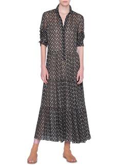 Akris punto Circlefield Print Long Sleeve Maxi Dress