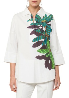 Akris Punto Collared V-Neck Tropical-Leaves Cotton-Stretch Tunic Blouse