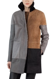 Akris punto Colorblock Reversible Genuine Shearling Coat