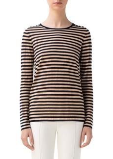 Akris punto Contrast Stripe Wool Blend Top