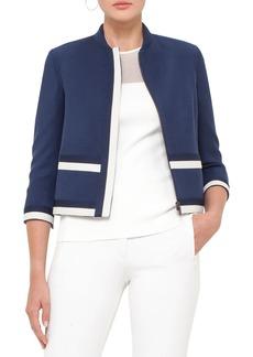 Akris punto Contrast Trim Wool Gabardine Jacket