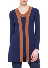 Akris punto Contrast-Trimmed Open-Front Cardigan