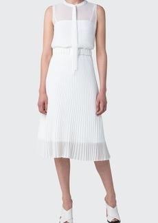 Akris punto Crepe Plisse Belted Midi Dress