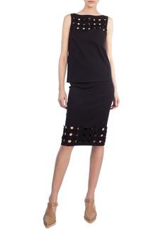 Akris punto Cutout Punto Dot Pencil Skirt