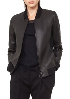 Akris punto Detachable Hem Leather Bomber Jacket