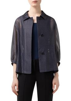 Akris punto Dot & Stripe Puff Sleeve Organza Jacket