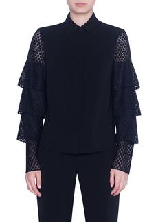 Akris punto Dot Lace Tiered Sleeve Shirt