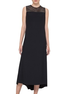Akris punto Dot Mesh Inset Midi Dress