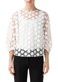 Akris punto Dot Sheer Puff Sleeve Blouse