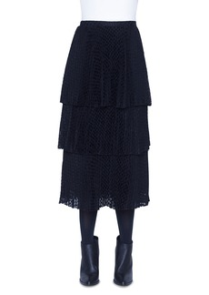 Akris punto Dotted Devore Tiered Midi Skirt