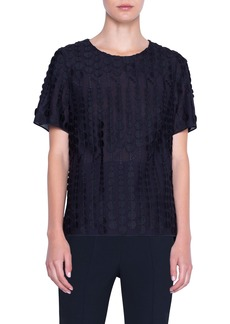 Akris punto Embroidered Dot Cotton Blend Top