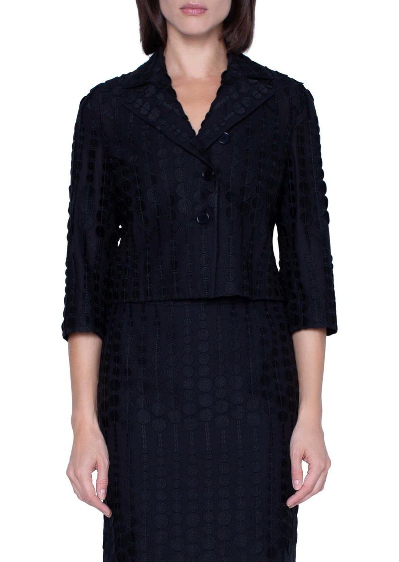 Akris punto Embroidered Dot Crop Cotton Blend Jacket