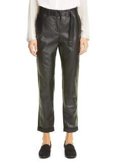 Akris punto Fallon Leather & Crepe Chino Pants