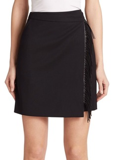 Akris punto Faux Leather Fringe-Trim Wool Skirt