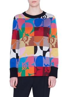 Akris punto Floral Square Jacquard Sweater