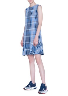 Akris punto Flounce Hem Plaid Tweed Dress