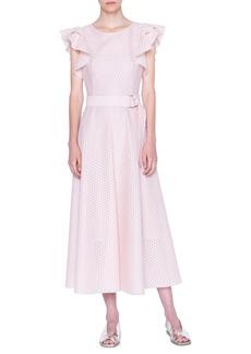 Akris punto Flutter Sleeve Dot Lace Midi Dress