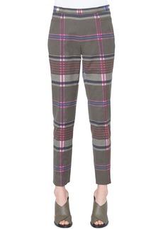 Akris punto Franca Plaid Stretch-Cotton Side-Zip Straight-Leg Ankle Pants