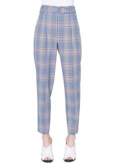 Akris punto Fred Belted Plaid Wool/Nylon Pants