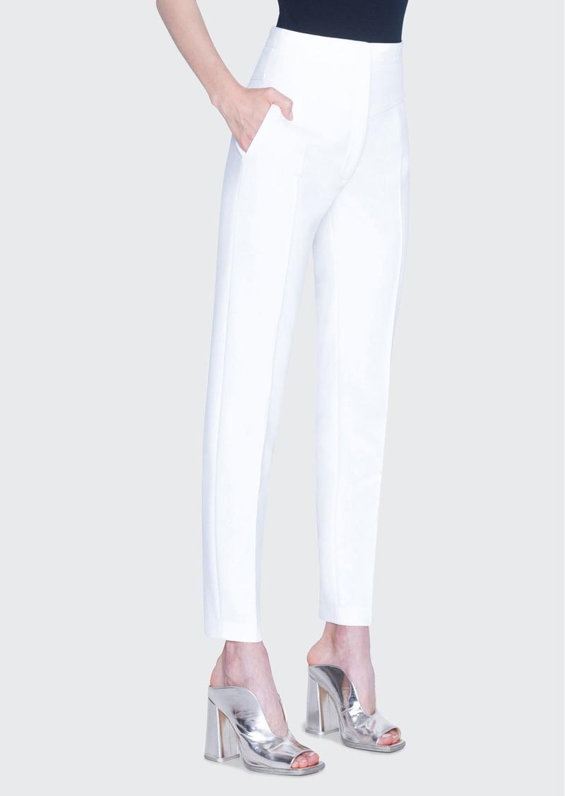 Akris punto Freya Pebble Crepe High-Rise Pants  White