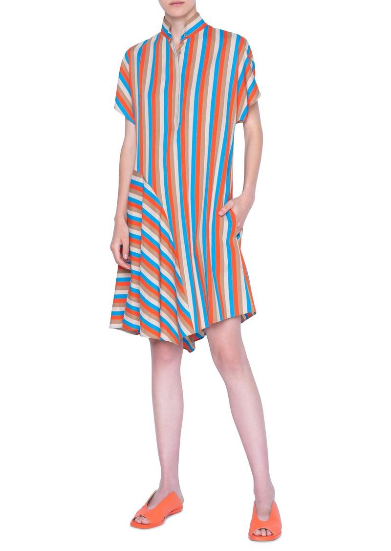 Akris punto Gazebo Stripe Asymmetrical Shirtdress