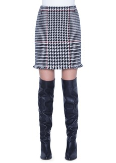 Akris punto Glen Check Wool Blend Miniskirt