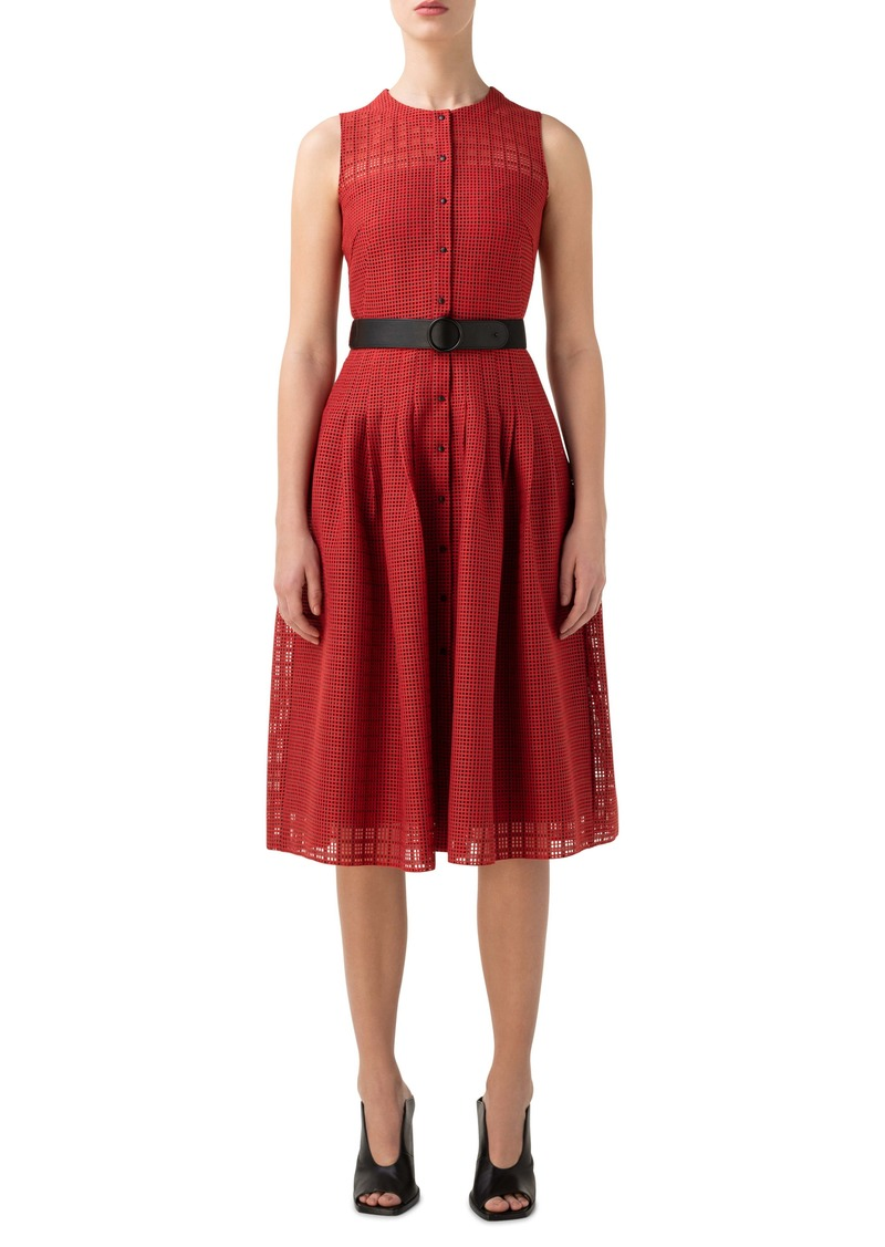 Akris punto Grid Lace Belted Fit & Flare Dress