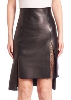 Akris punto Hi-Lo Leather Skirt