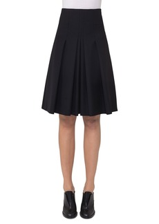 Akris punto High-Waist Pleated A-Line Skirt  Black