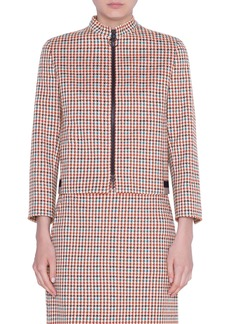 Akris punto Houndstooth Jacquard Cotton Blend Jacket