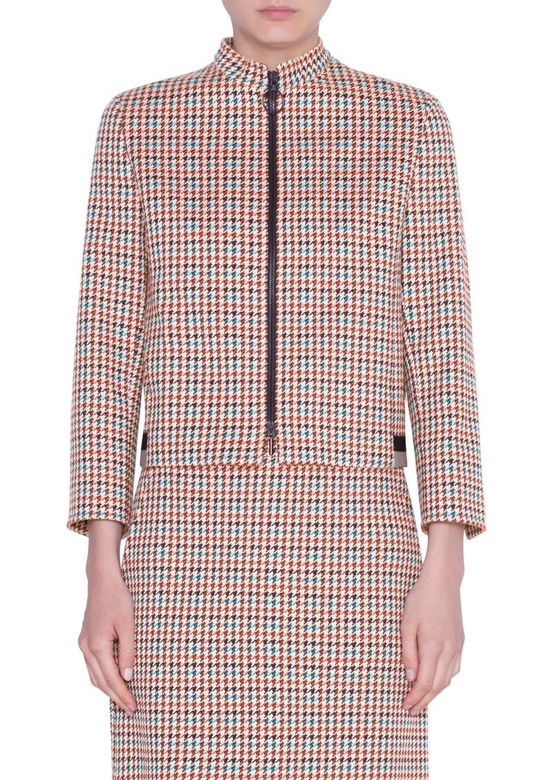 Akris punto Houndstooth Jacquard Cotton Blend Jacket