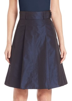 Akris punto Iridescent Belted A-Line Skirt