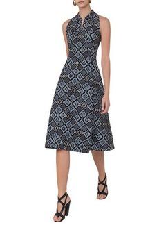 Akris punto Jacquard Zip-Front Sleeveless A-Line Midi Dress