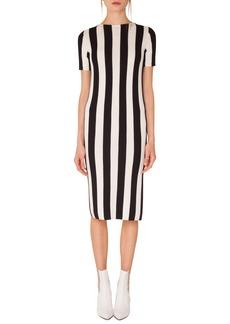 Akris punto Kodak Stripe Knit Cotton Midi Dress
